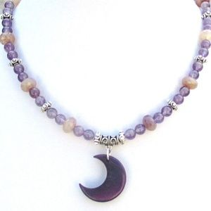 Purple Tagua Nut Amethyst Gypsy Necklace